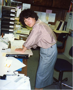 Mom working in the office, 1980's